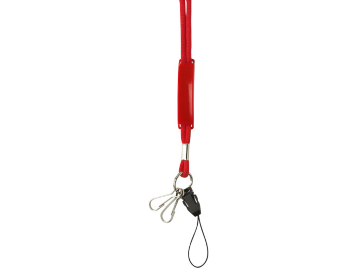 Lanyard 'Mobile' aus Polyester – Rot bedrucken, Art.-Nr. 008999999_4164