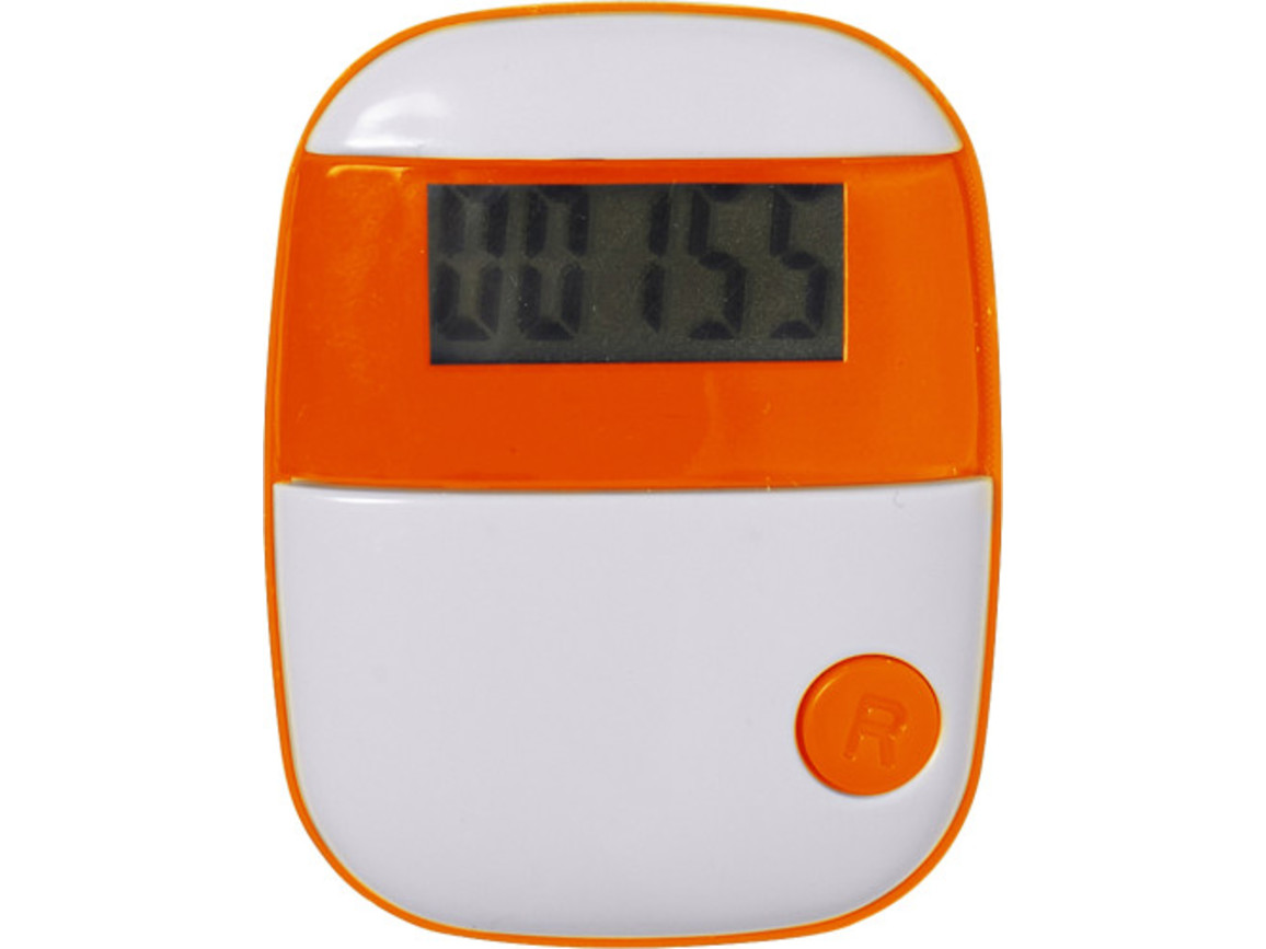 Pedometer 'Retro' aus Kunststoff – Orange bedrucken, Art.-Nr. 007999999_4453