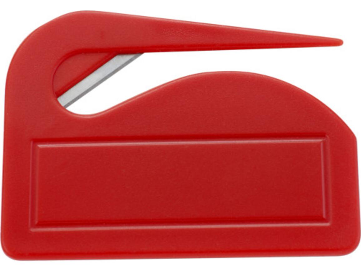 Brieföffner 'Pocket' aus Kunststoff – Rot bedrucken, Art.-Nr. 008999999_4505