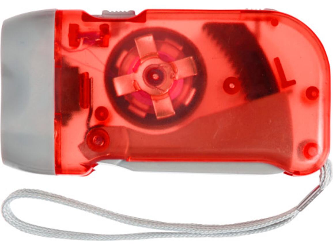 LED-Dynamotaschenlampe 'Mission' aus Kunststoff – Rot bedrucken, Art.-Nr. 008999999_4532