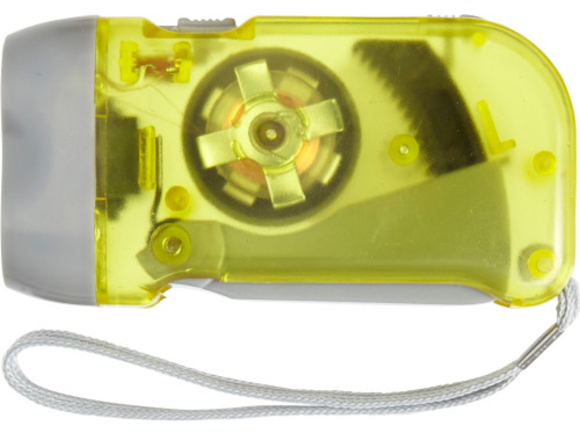 LED-Dynamotaschenlampe 'Mission' aus Kunststoff – Gelb bedrucken, Art.-Nr. 006999999_4532