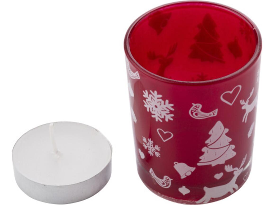 Teelichthalter 'X-MAS' aus farbigem Glas – Rot bedrucken, Art.-Nr. 008999999_5039