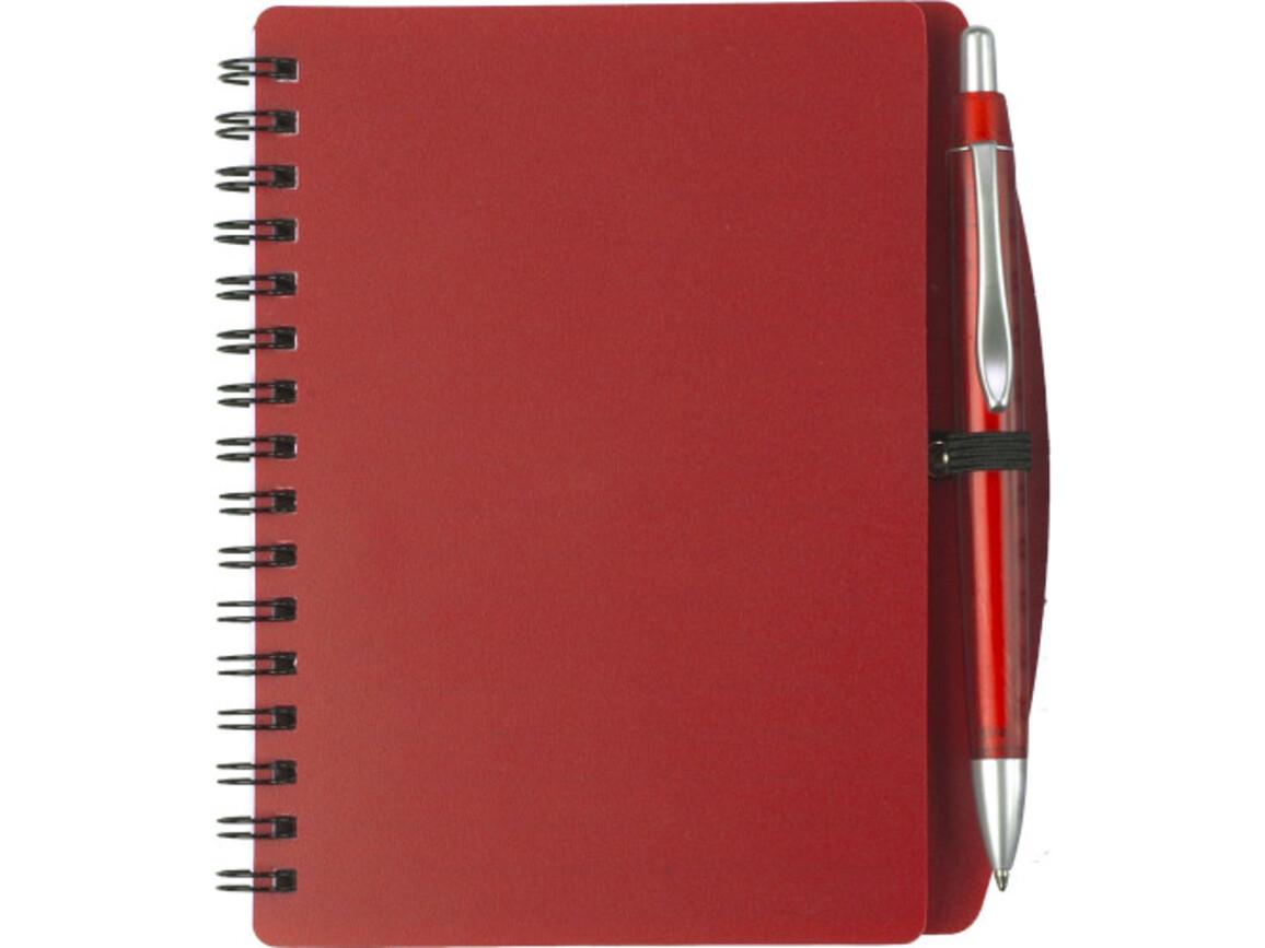 Notizbuch 'Spektrum' aus Kunststoff – Rot bedrucken, Art.-Nr. 008999999_5139