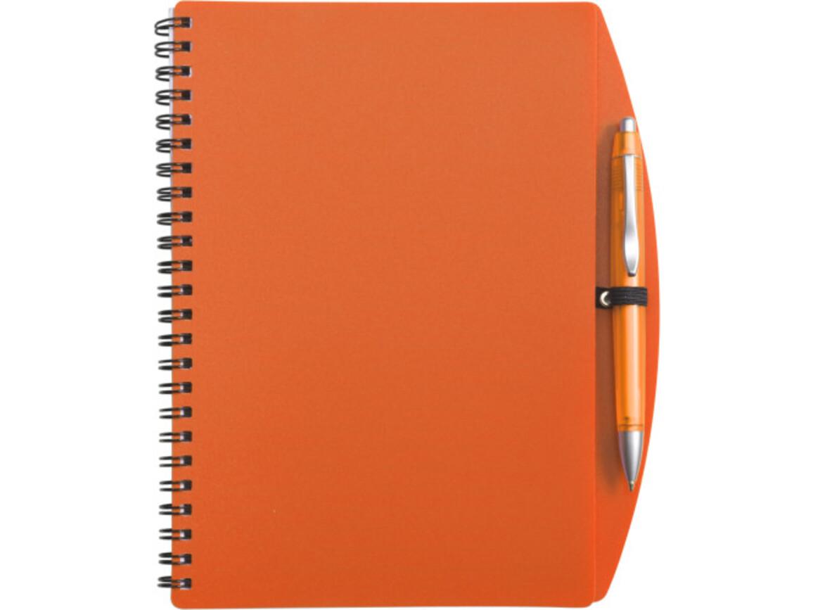 Notizbuch 'Spektrum' aus Kunststoff – Orange bedrucken, Art.-Nr. 007999999_5140