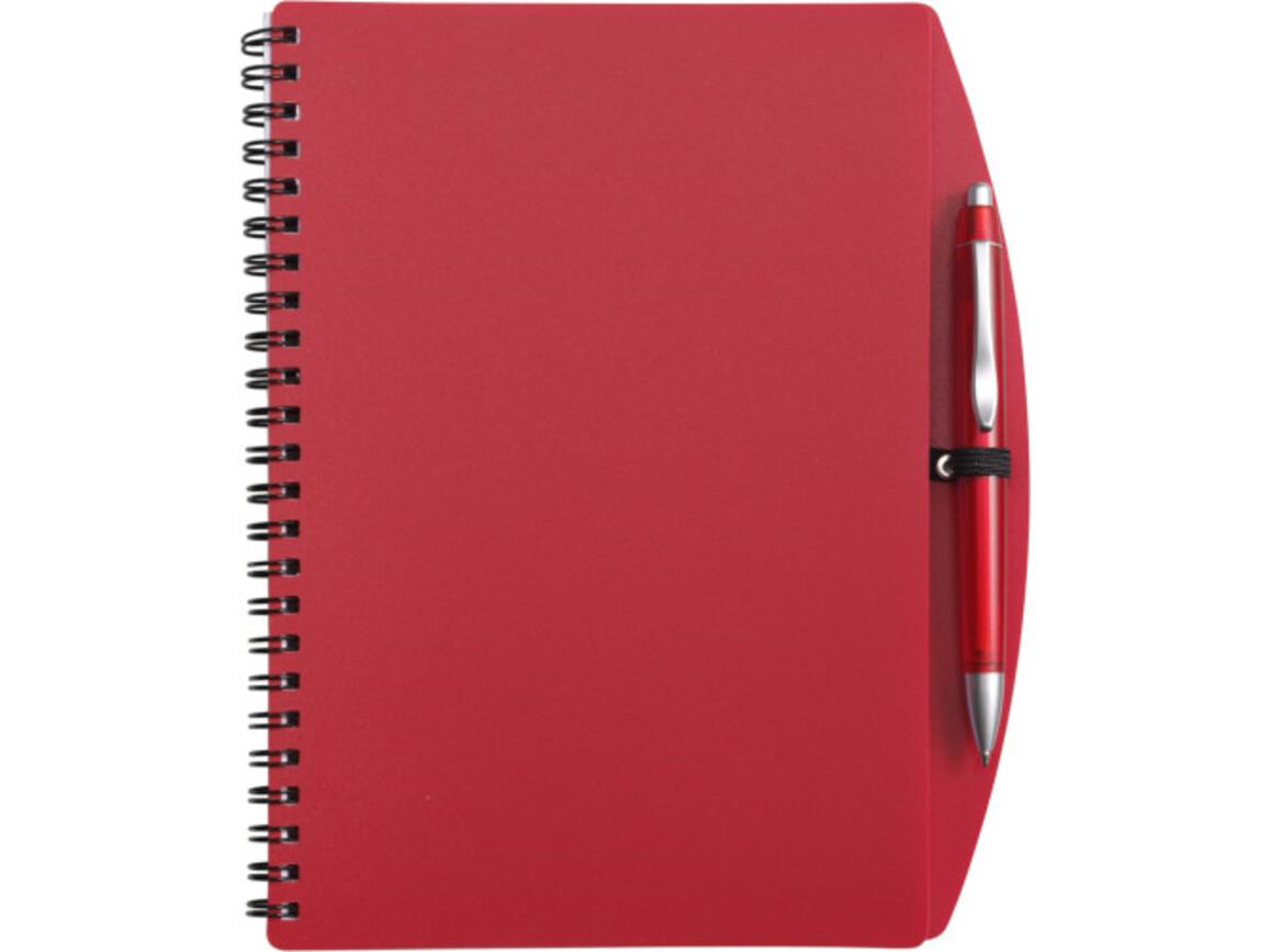 Notizbuch 'Spektrum' aus Kunststoff – Rot bedrucken, Art.-Nr. 008999999_5140