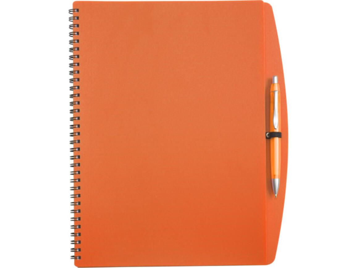 Notizbuch 'Spektrum' aus Kunststoff – Orange bedrucken, Art.-Nr. 007999999_5141
