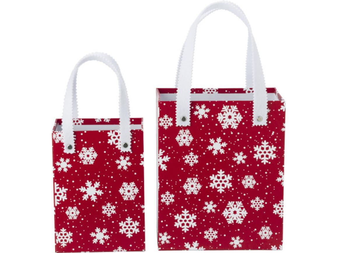 Geschenkboxen 'X-MAS' aus Karton – Rot/Weiß bedrucken, Art.-Nr. 048999284_5222