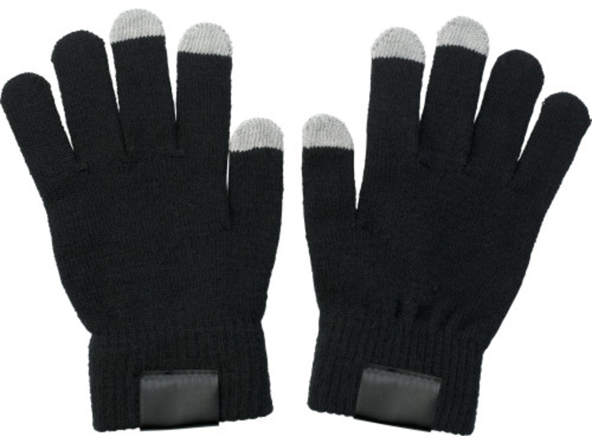 Handschuhe 'Touch' aus Acryl – Schwarz bedrucken, Art.-Nr. 001999999_5350
