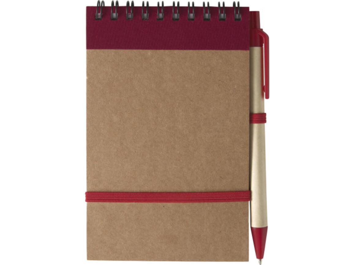 Notizbuch 'Pocket' aus recyceltem Karton – Rot bedrucken, Art.-Nr. 008999999_5410