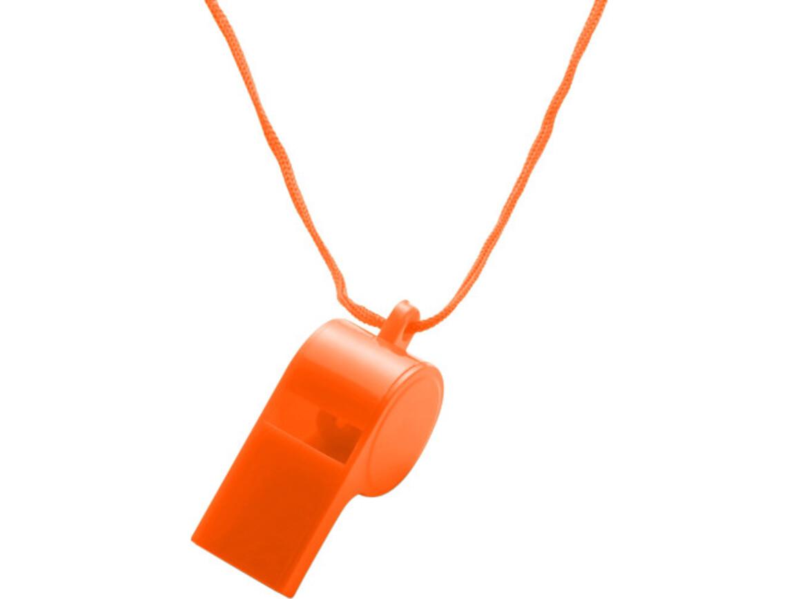 Trillerpfeife 'Attention' aus Kunststoff – Orange bedrucken, Art.-Nr. 007999999_7060