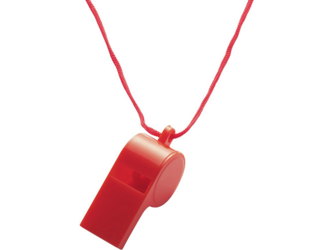 Trillerpfeife 'Attention' aus Kunststoff – Rot bedrucken, Art.-Nr. 008999999_7060