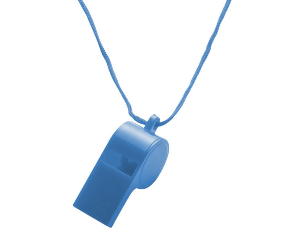 Trillerpfeife 'Attention' aus Kunststoff – Blau bedrucken, Art.-Nr. 005999999_7060