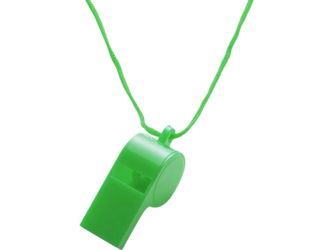 Trillerpfeife 'Attention' aus Kunststoff – Grün bedrucken, Art.-Nr. 004999999_7060
