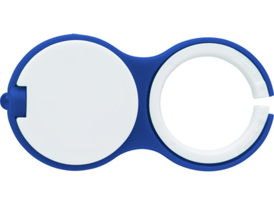 Schlüsselanhänger 'Hook' aus Kunststoff – Blau bedrucken, Art.-Nr. 005999999_7359
