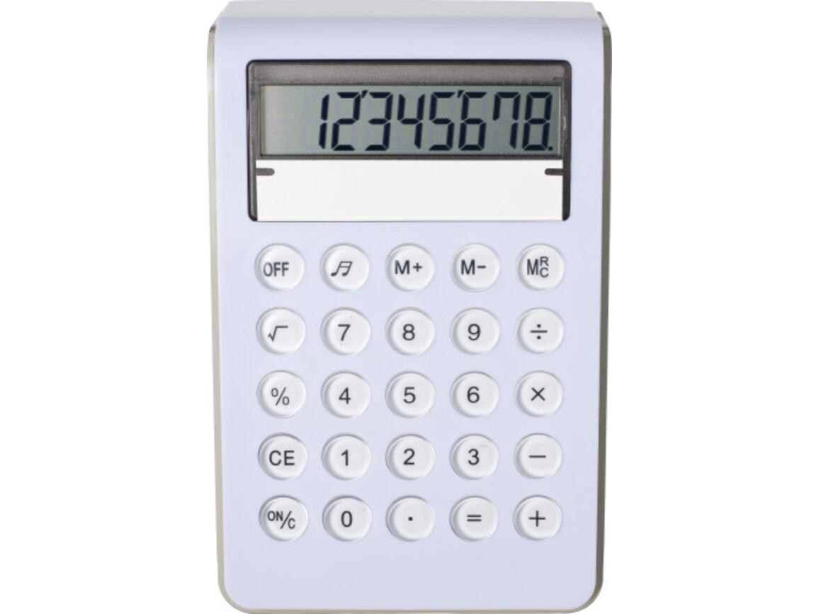 Taschenrechner 'Berny' aus Kunststoff – Weiß bedrucken, Art.-Nr. 002999999_7806
