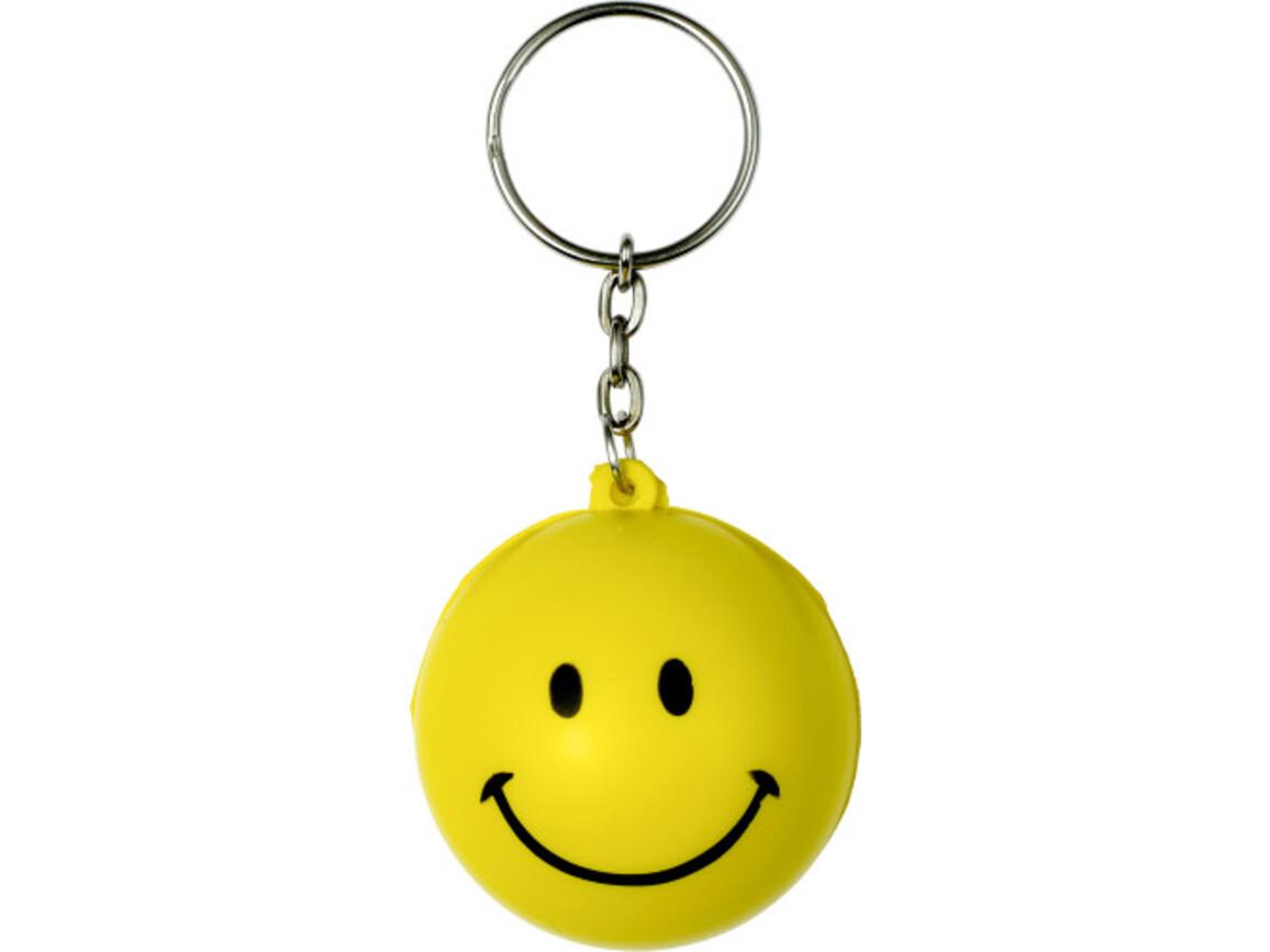 Schlüsselanhänger 'Smile' aus PU Schaum – Gelb bedrucken, Art.-Nr. 006999999_7865