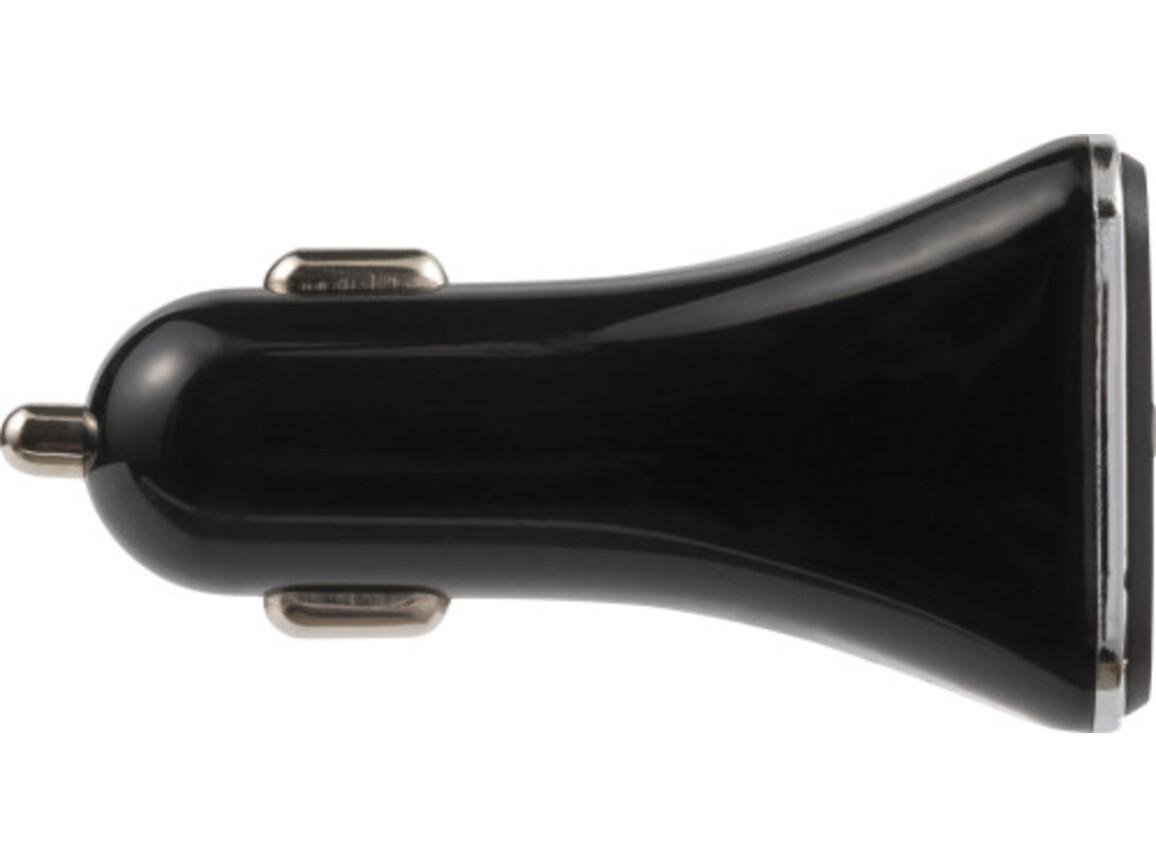 KFZ-Ladestecker 'Duo' aus ABS-Kunststoff – Schwarz bedrucken, Art.-Nr. 001999999_7921