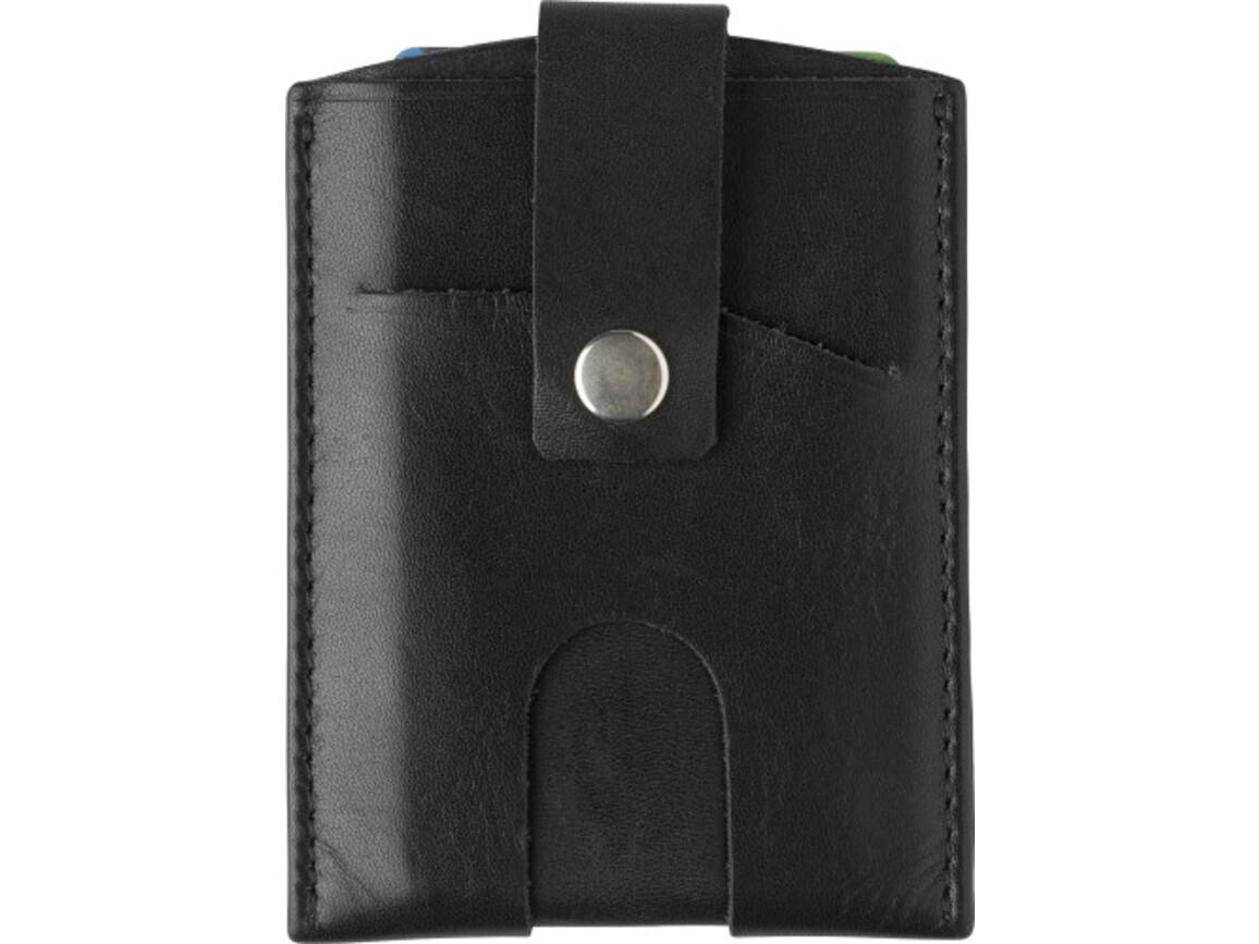 Kreditkartenbörse 'Clap' aus Spaltleder – Schwarz bedrucken, Art.-Nr. 001999999_8022