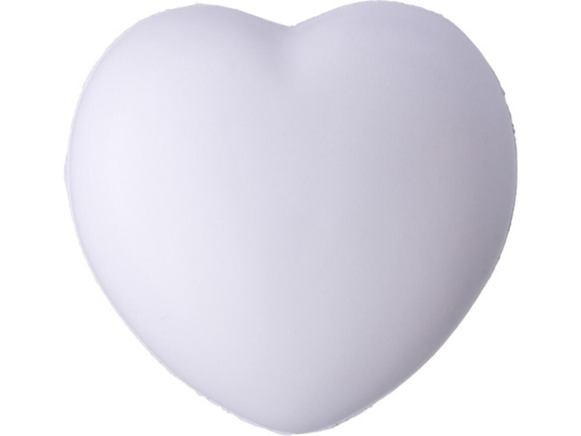Anti-Stress-Herz 'Comfy' aus PU Schaum – Weiß bedrucken, Art.-Nr. 002999999_8033