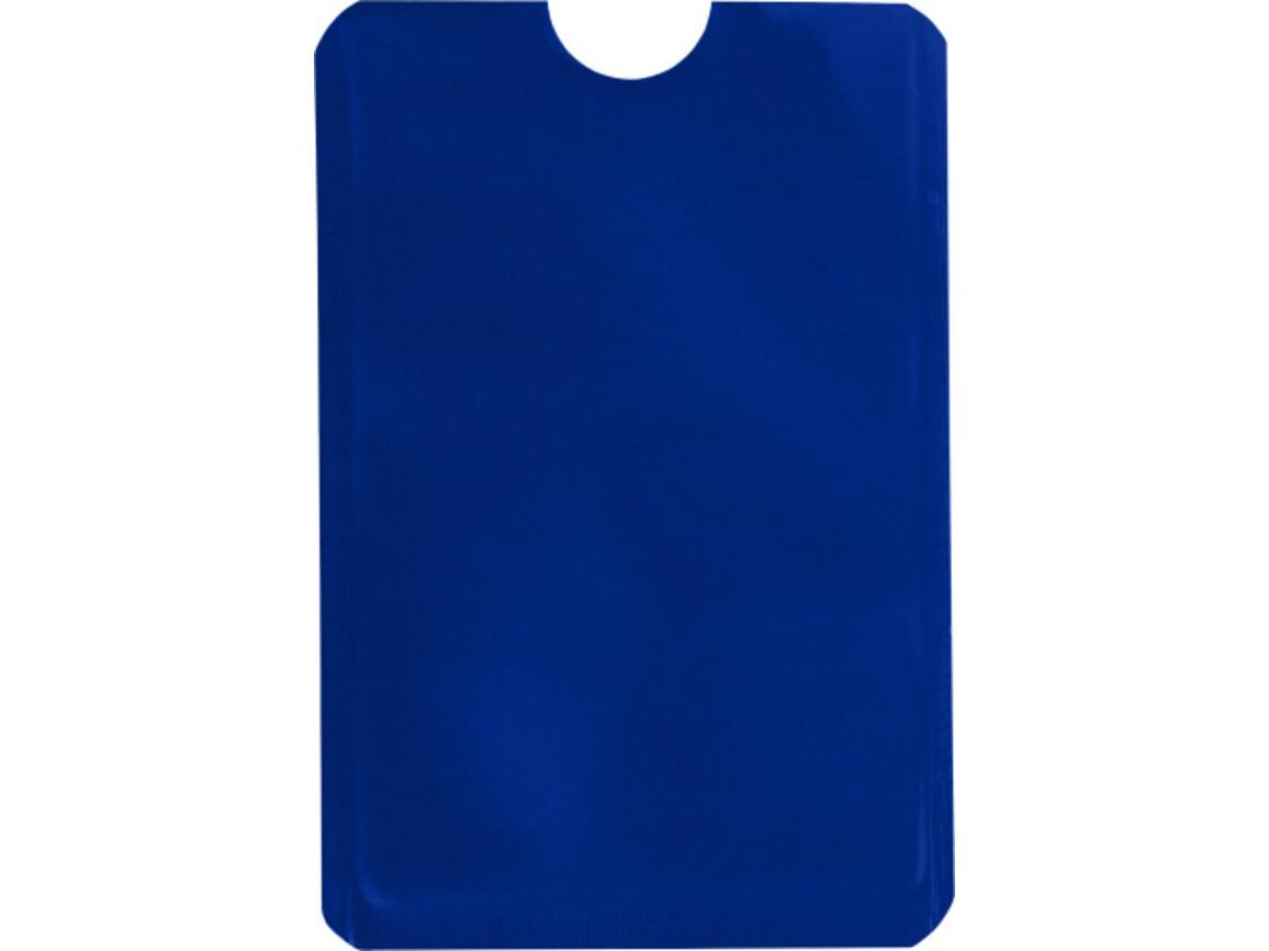 Kartenhalter 'Check' aus Aluminium – Blau bedrucken, Art.-Nr. 005999999_8185