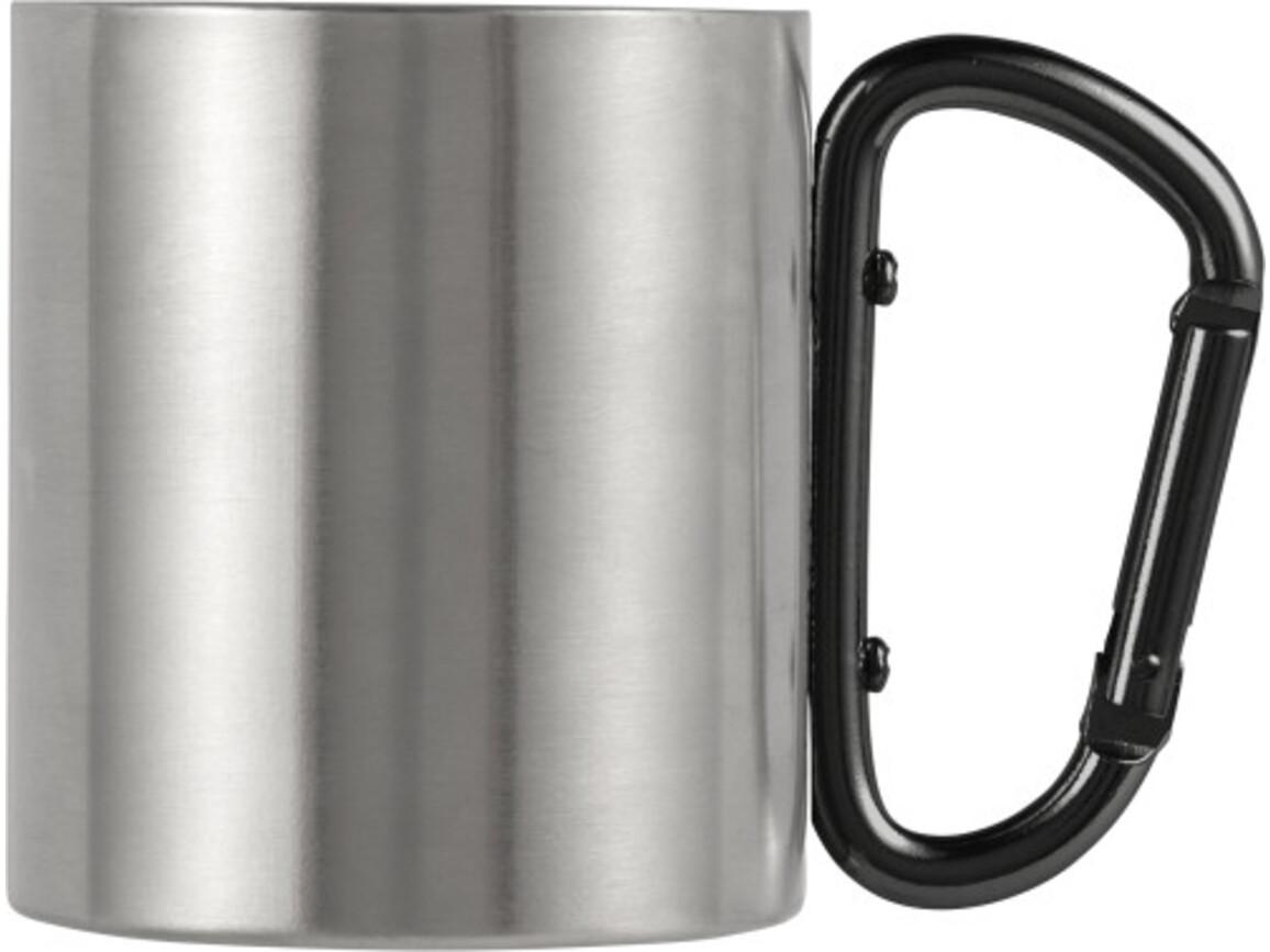 Doppelwandiger Kaffeebecher 'Carbine' aus Edelstahl (200 ml) – Schwarz bedrucken, Art.-Nr. 001999999_8245