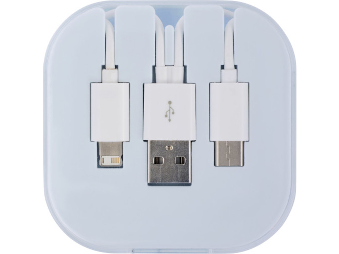 USB Ladekabel-Set 'Donau' 4in1 – Weiß bedrucken, Art.-Nr. 002999999_8290