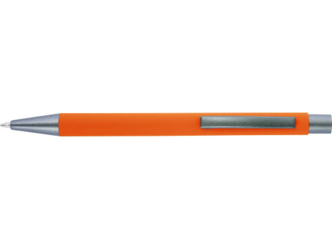 Kugelschreiber 'Amrum' mit Softtouch-Oberfläche und Glanzgravur – Orange bedrucken, Art.-Nr. 007999999_8298