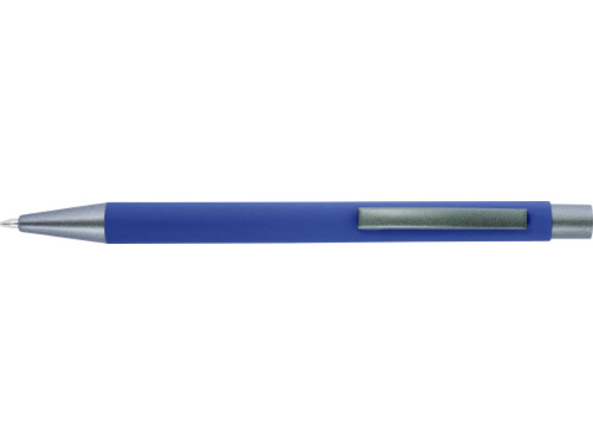Kugelschreiber 'Amrum' mit Softtouch-Oberfläche und Glanzgravur – Blau bedrucken, Art.-Nr. 005999999_8298