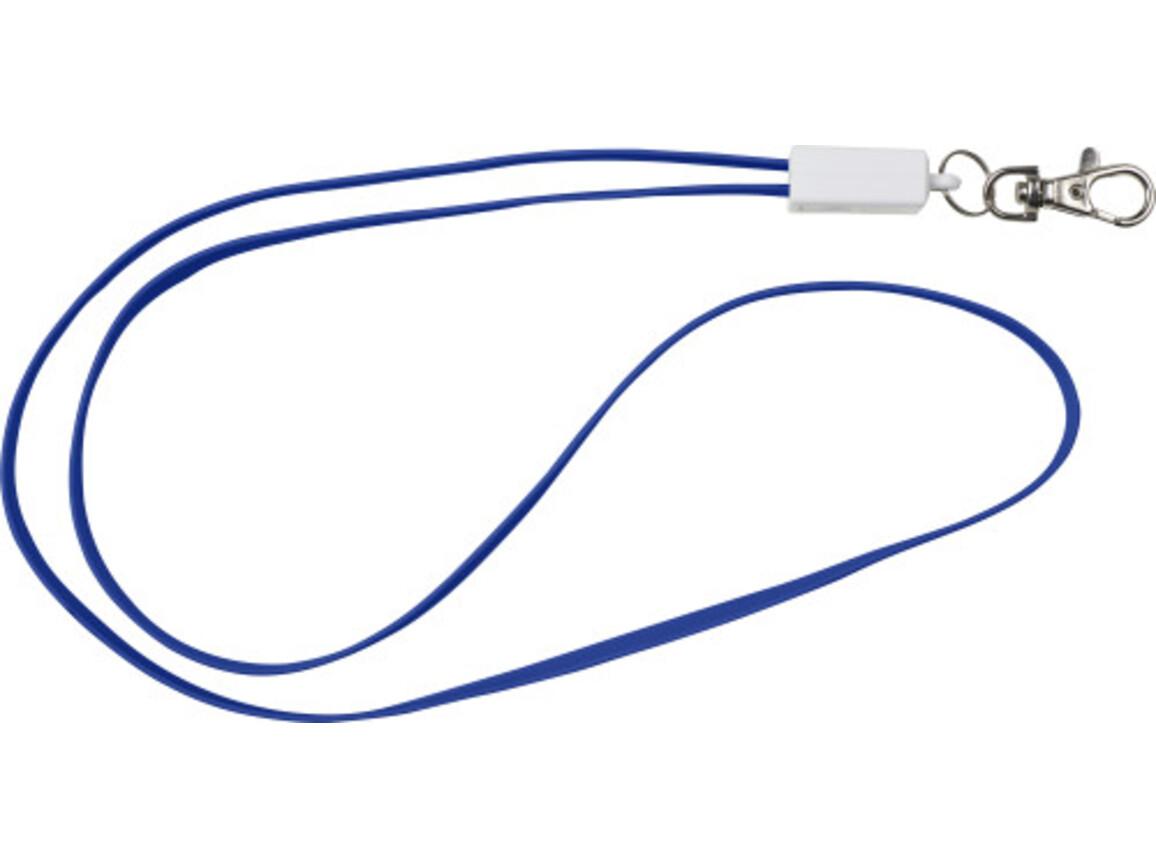 2-in-1 Schlüsselband 'Charlie' aus TPE-Kunststoff – Blau bedrucken, Art.-Nr. 005999999_8451