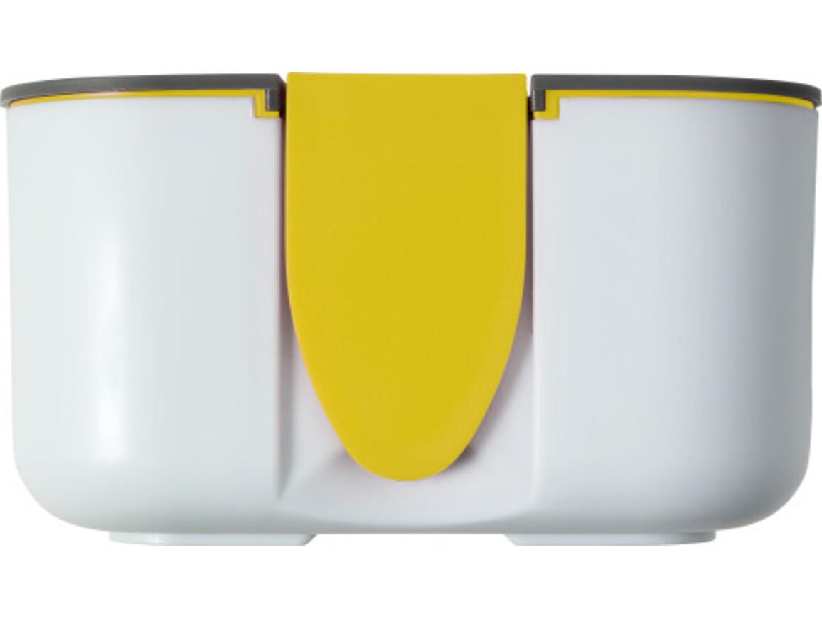 Brotdose 'Bob' (850 ml) aus Silikon und Kunststoff – Gelb bedrucken, Art.-Nr. 006999999_8520