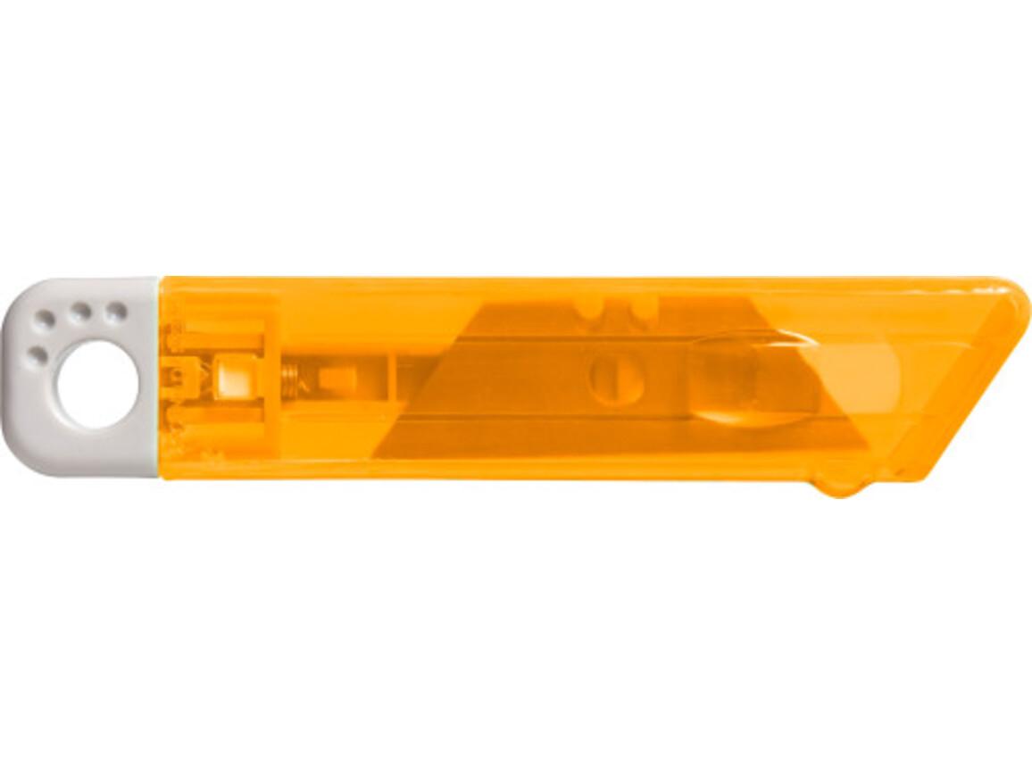 Cutter-Messer 'Mister' mit Federkernautomatik aus Kunststoff – Orange bedrucken, Art.-Nr. 007999999_8545