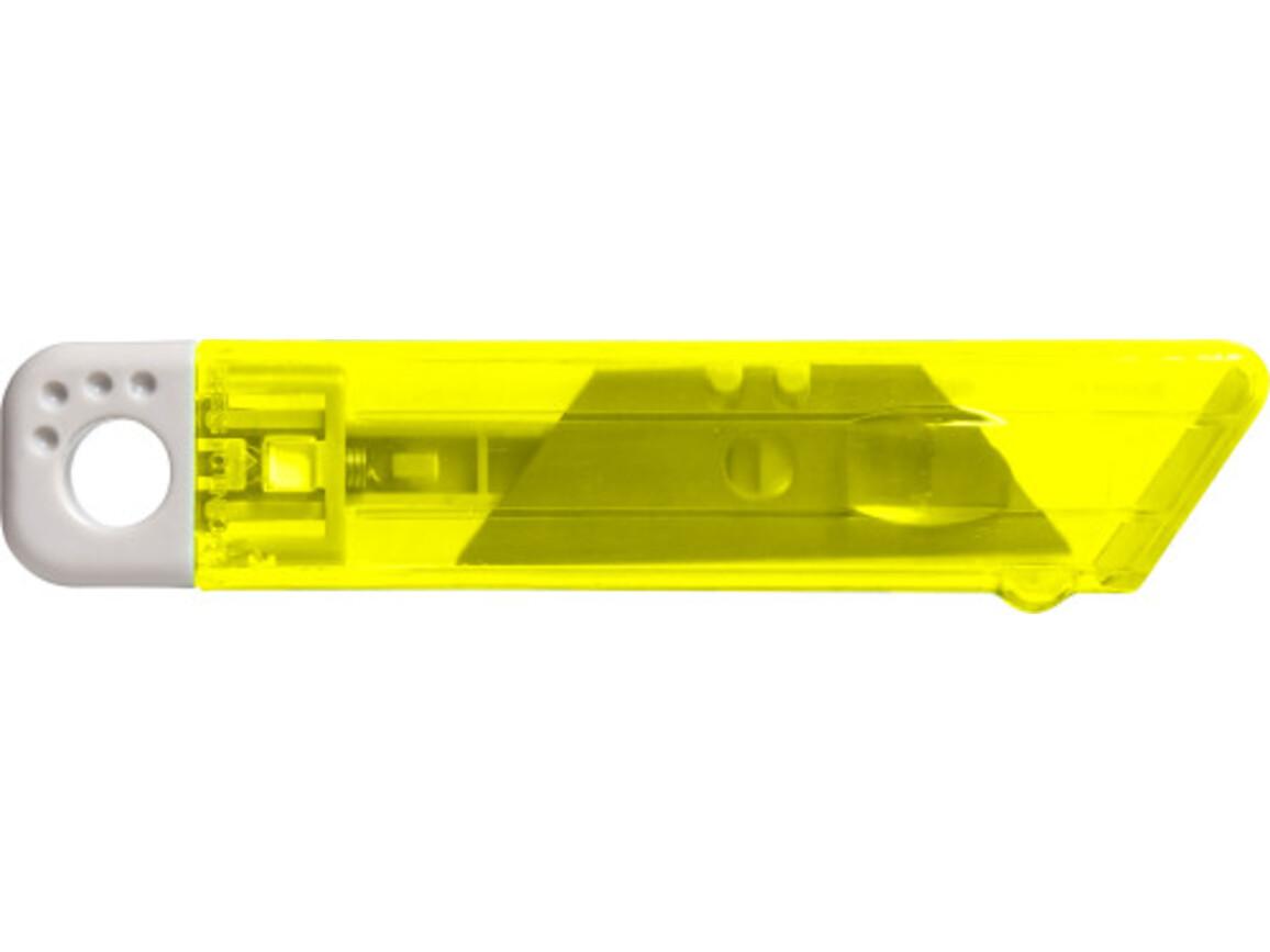 Cutter-Messer 'Mister' mit Federkernautomatik aus Kunststoff – Gelb bedrucken, Art.-Nr. 006999999_8545