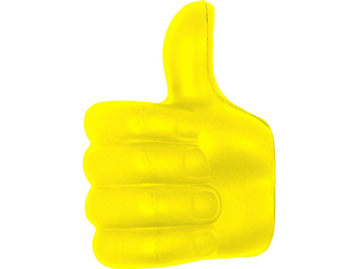 Anti-Stress Daumen 'Up' aus PU – Gelb bedrucken, Art.-Nr. 006999999_8576