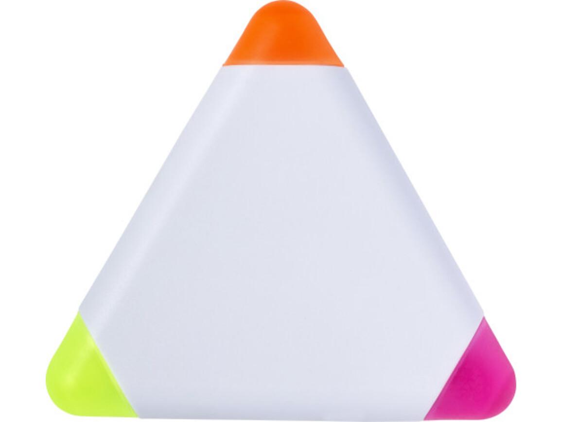 Textmarker 'Triangle' aus Kunststoff – Weiß bedrucken, Art.-Nr. 002999999_8672