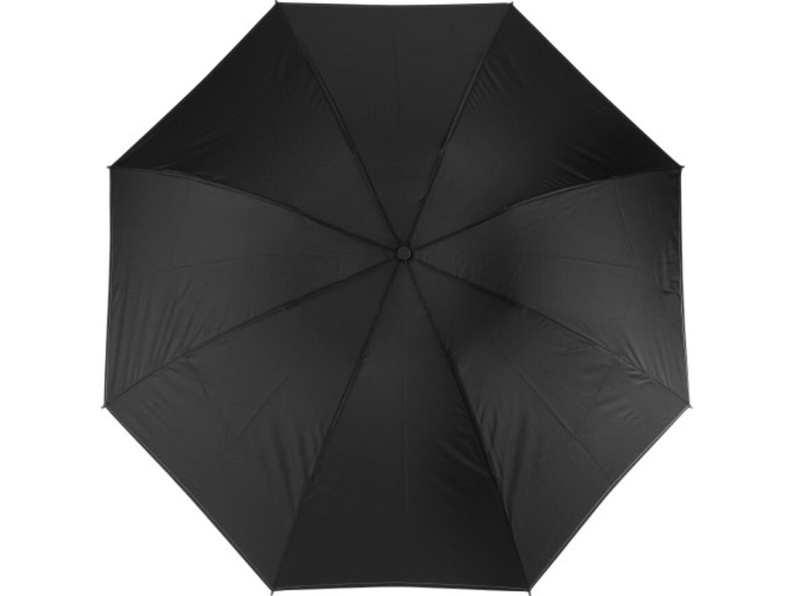 Reversibler Taschenschirm 'Ina' aus Pongee – Schwarz bedrucken, Art.-Nr. 001999999_8979