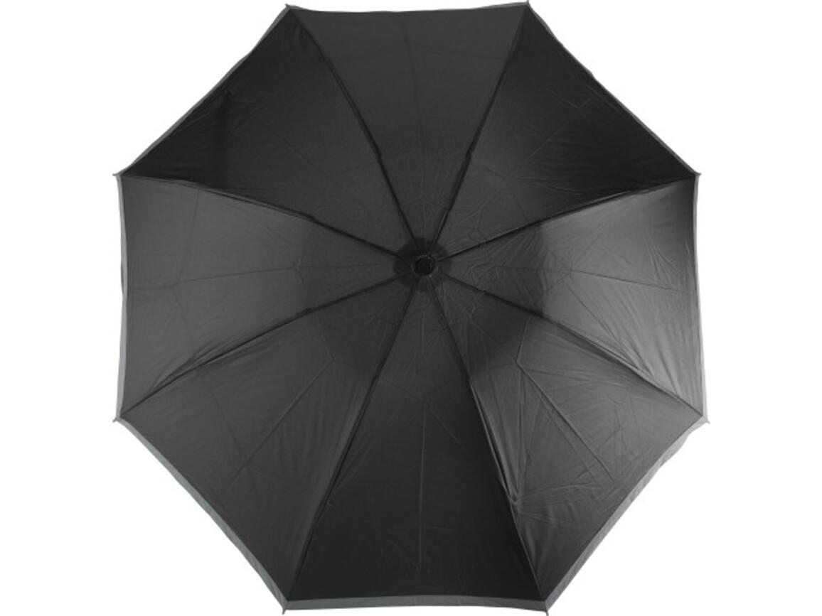 Reversibler Taschenschirm 'Sarah' mit Reflektorstreifen aus Pongee – Schwarz bedrucken, Art.-Nr. 001999999_8980