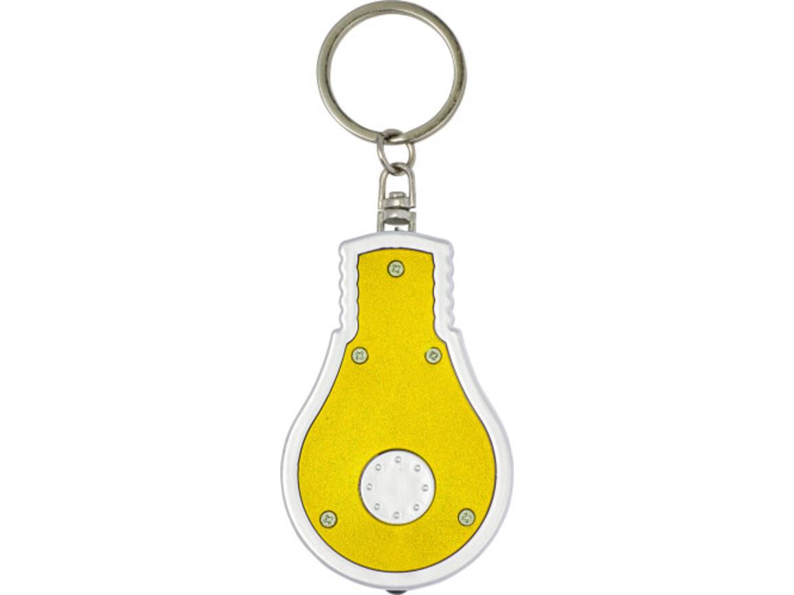 Schlüsselanhänger 'Disco' aus Kunststoff in Form einer Glühbirne – Gelb bedrucken, Art.-Nr. 006999999_8993