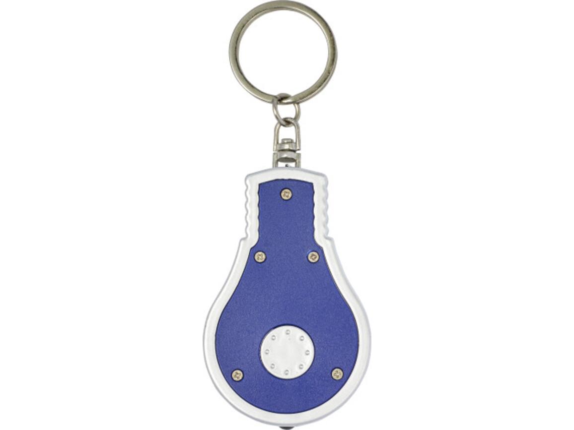 Schlüsselanhänger 'Disco' aus Kunststoff in Form einer Glühbirne – Blau bedrucken, Art.-Nr. 005999999_8993