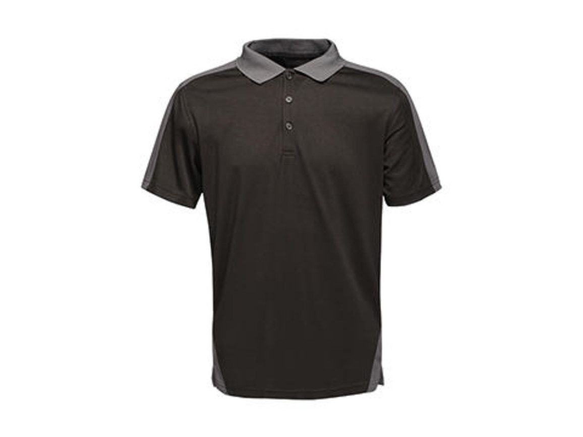Regatta Contrast Coolweave Polo, Black/Seal Grey, 3XL bedrucken, Art.-Nr. 006171518