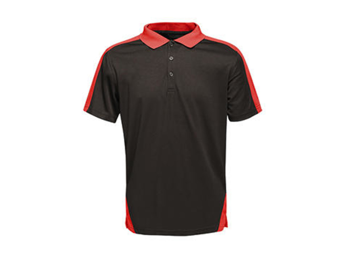 Regatta Contrast Coolweave Polo, Black/Classic Red, 2XL bedrucken, Art.-Nr. 006171577