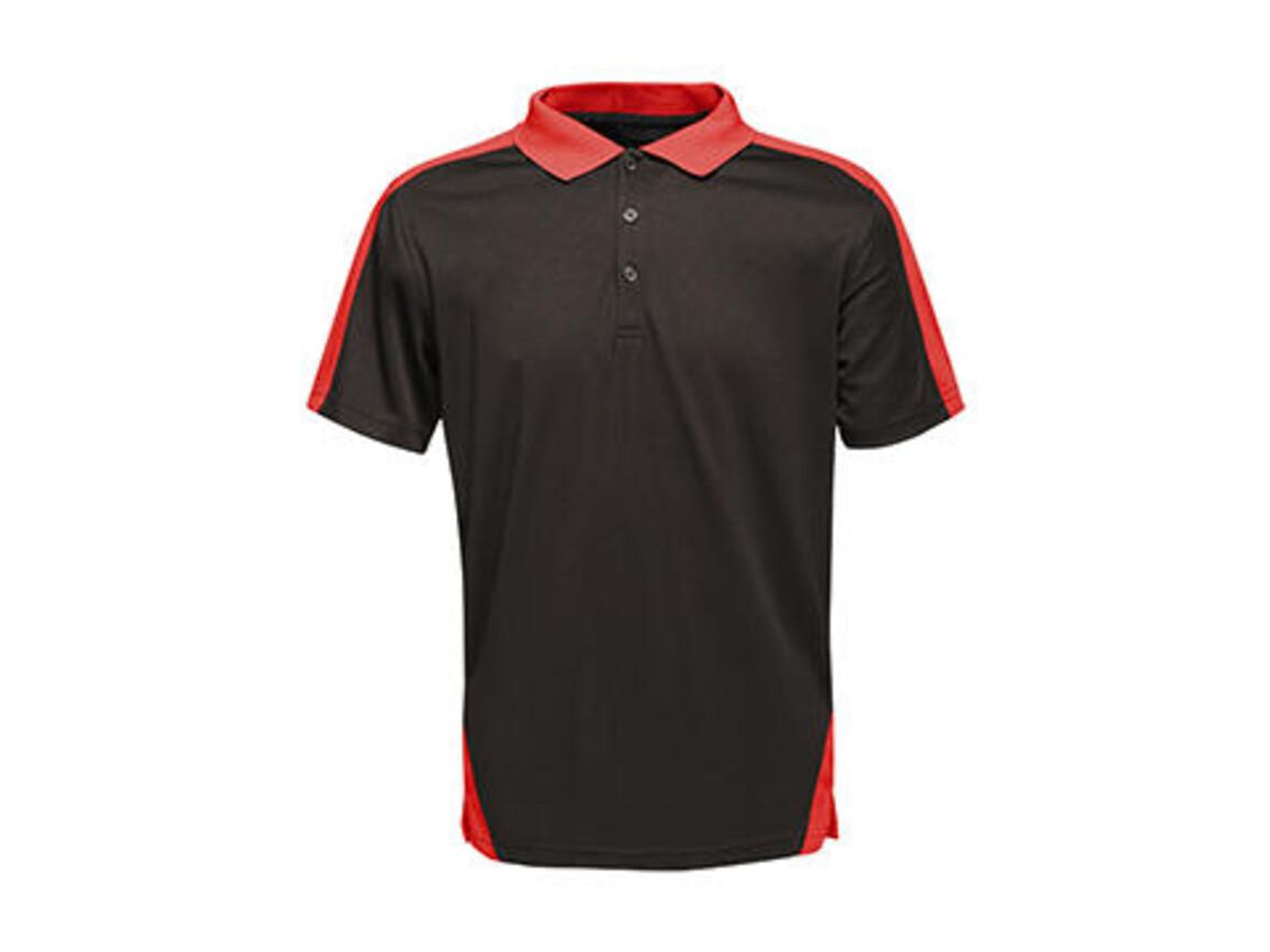 Regatta Contrast Coolweave Polo, Black/Classic Red, XS bedrucken, Art.-Nr. 006171572