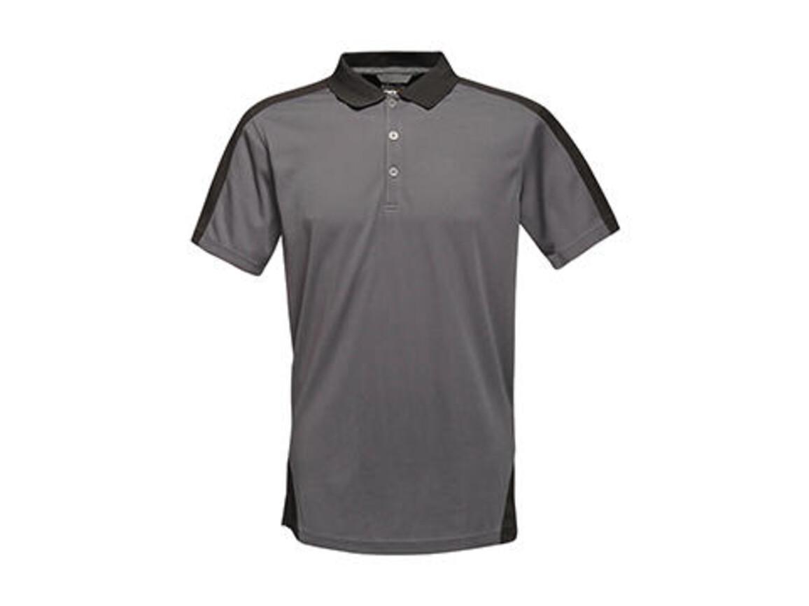 Regatta Contrast Coolweave Polo, Seal Grey/Black, XS bedrucken, Art.-Nr. 006171582