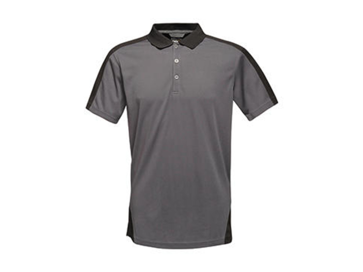 Regatta Contrast Coolweave Polo, Seal Grey/Black, 2XL bedrucken, Art.-Nr. 006171587