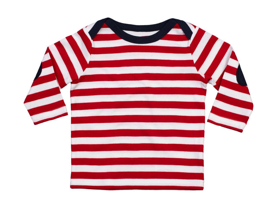 BabyBugz Baby Stripy Long Sleeve T, Red/Washed White/Navy, 12-18 bedrucken, Art.-Nr. 008474824