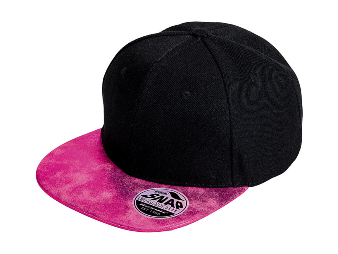 Result Caps Bronx Glitter Flat Peak Snapback Cap, Black/Pink, One Size bedrucken, Art.-Nr. 010341600