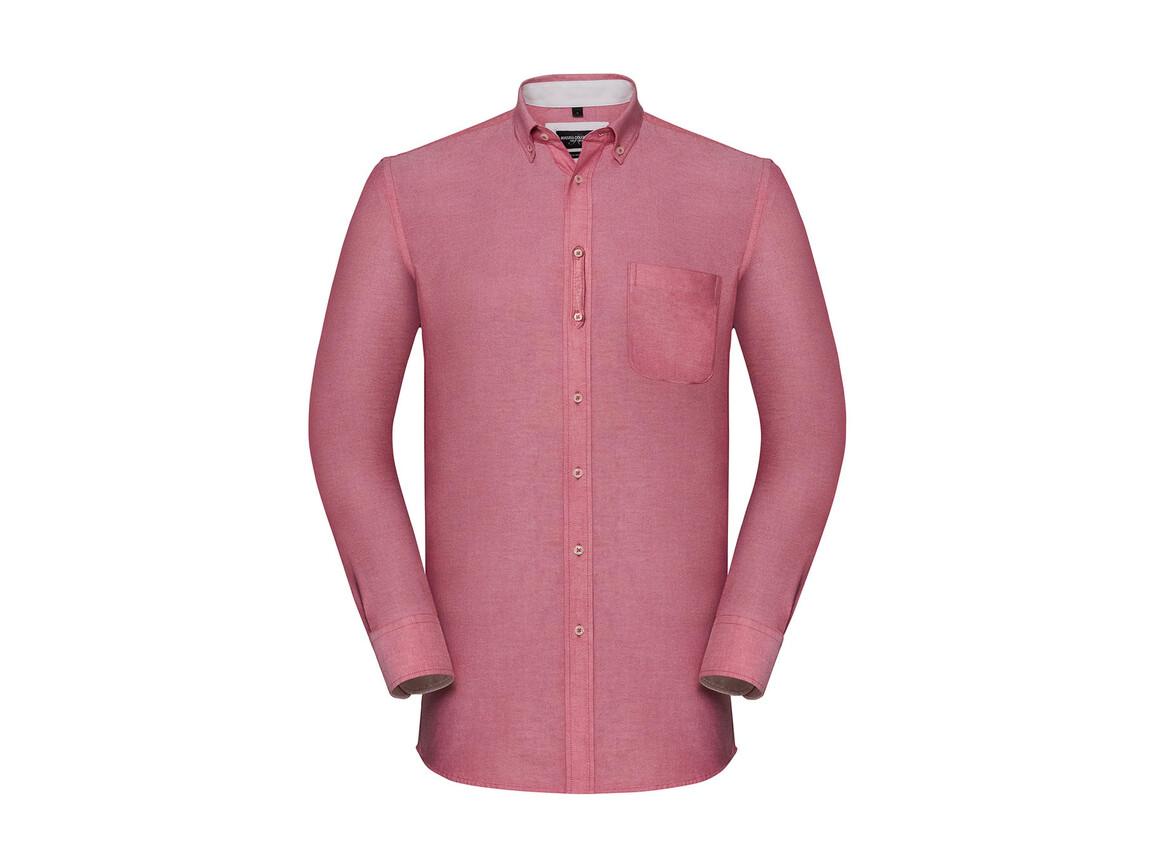 Russell Europe Men`s LS Tailored Washed Oxford Shirt, Oxford Red/Cream, 4XL bedrucken, Art.-Nr. 020004549