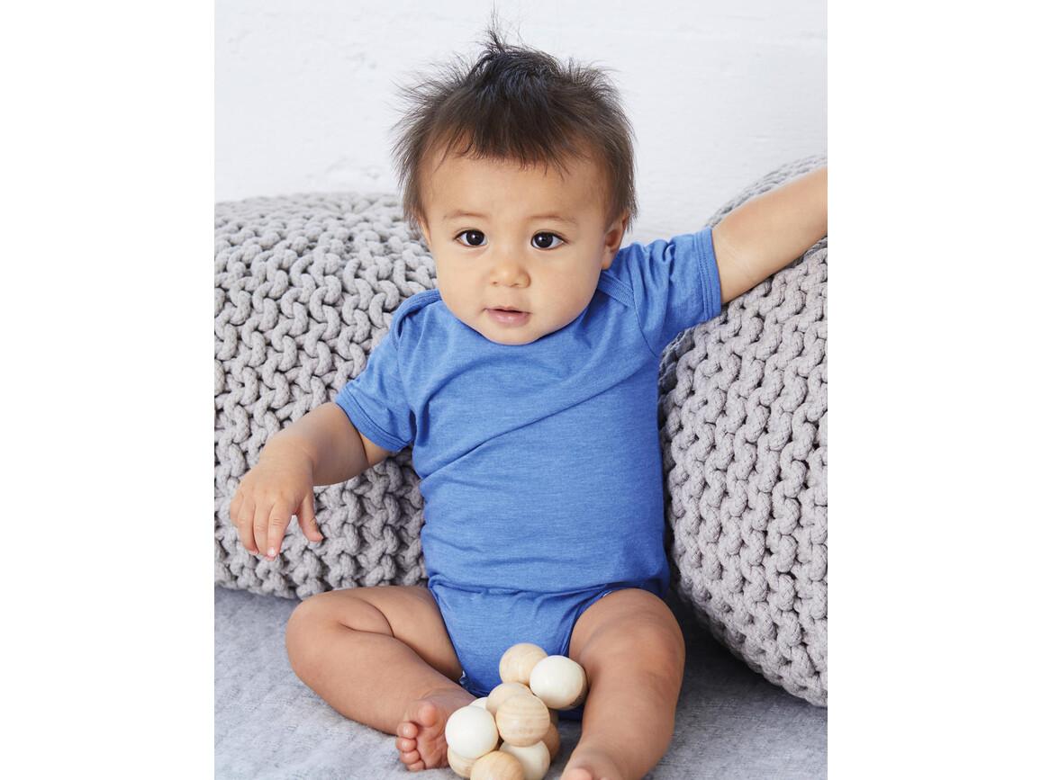 Bella Baby Jersey Short Sleeve One Piece, Heather Columbia Blue, 12-18 bedrucken, Art.-Nr. 046062104