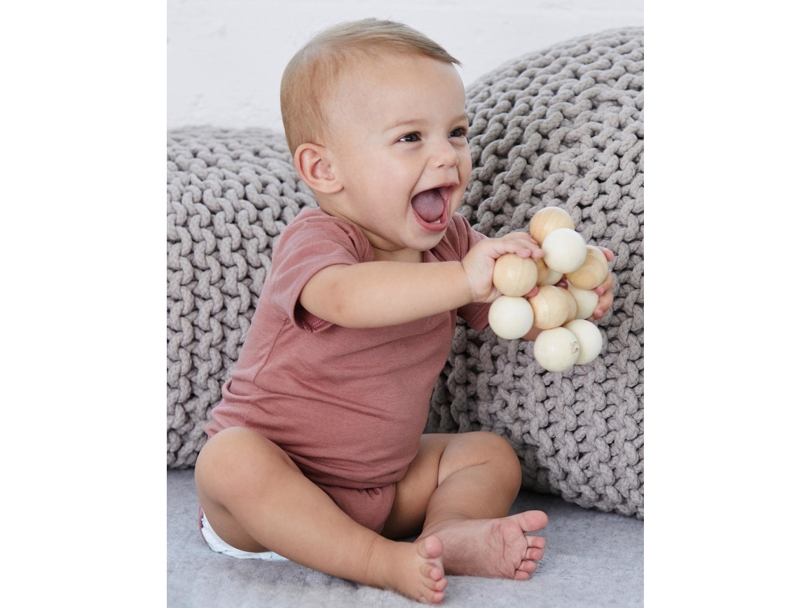 Bella Baby Triblend Short Sleeve Onesie, Mauve Triblend, 6-12 bedrucken, Art.-Nr. 047063473