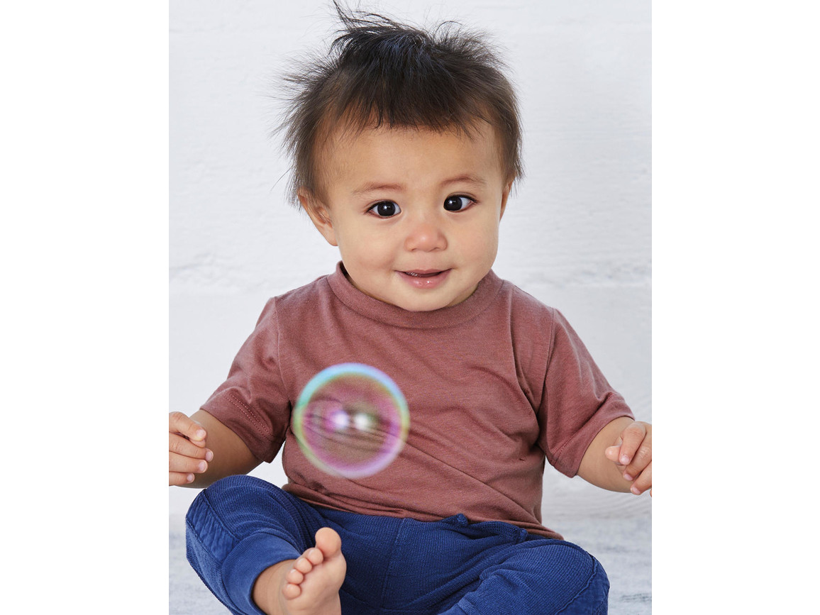 Bella Baby Triblend Short Sleeve Tee, Ice Blue Triblend, 12-18 bedrucken, Art.-Nr. 049063244