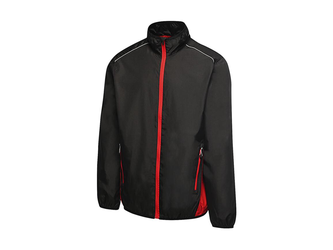 Regatta Athens Tracksuit Jacket, Black/Classic Red, S bedrucken, Art.-Nr. 055171573